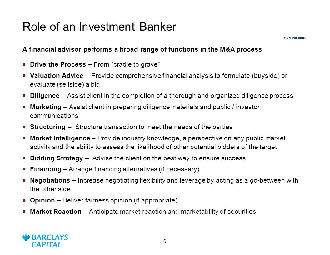 Role of an Investment Banker