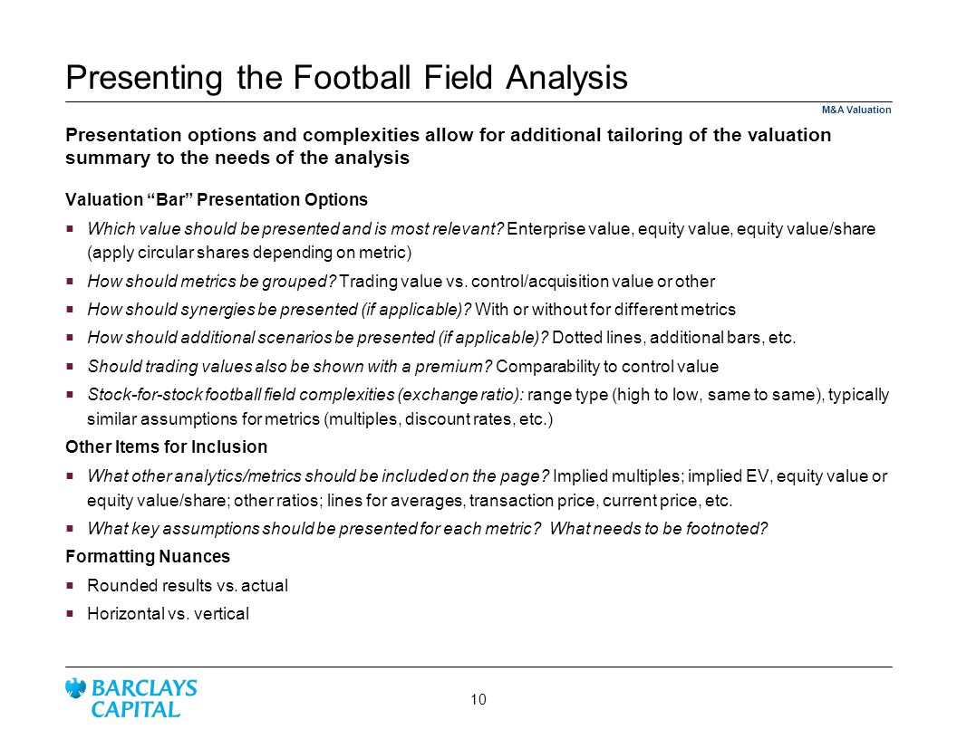 Presenting the Football Field Analysis