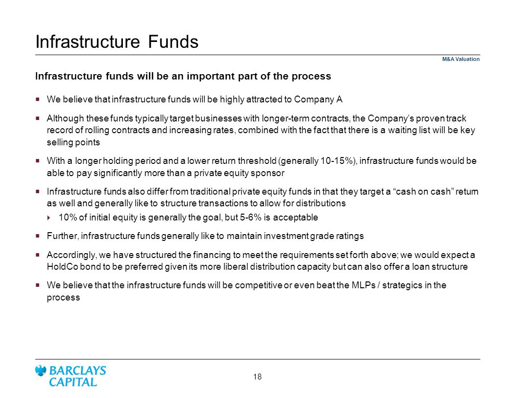 4/1/2017 8:53 AM Infrastructure Funds. M&A Valuation. Infrastructure funds will be an important part of the process.