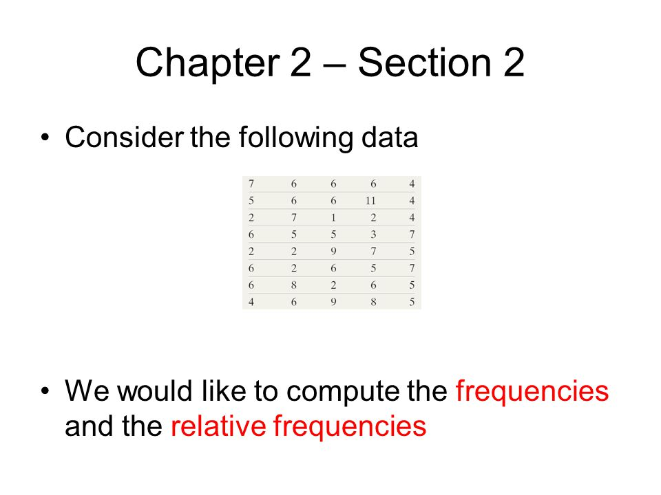 Chapter 2 – Section 2 Consider the following data