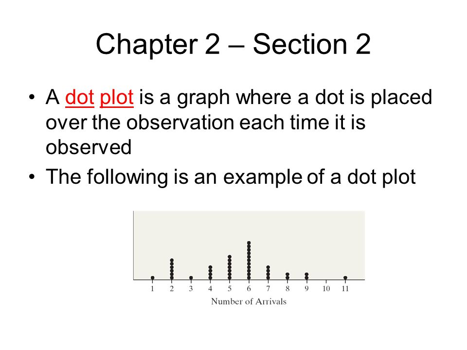 Chapter 2 – Section 2 A dot plot is a graph where a dot is placed over the observation each time it is observed.