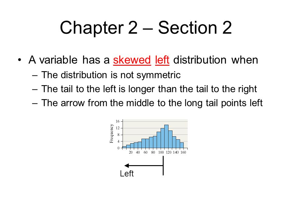 Chapter 2 – Section 2 A variable has a skewed left distribution when