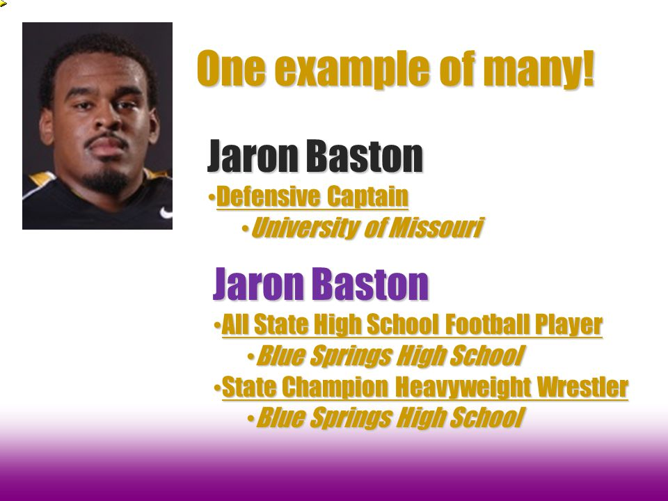 One example of many! Jaron Baston Jaron Baston Defensive Captain