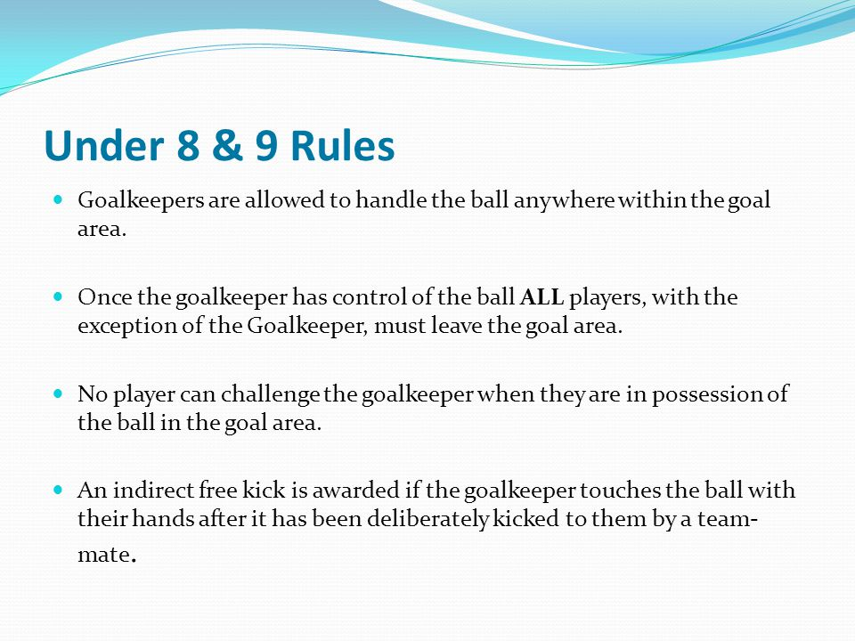 Under 8 & 9 Rules Goalkeepers are allowed to handle the ball anywhere within the goal area.