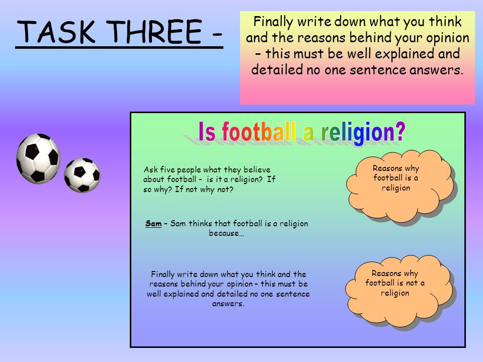 TASK THREE - Is football a religion