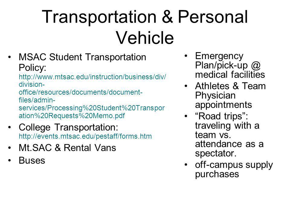 Transportation & Personal Vehicle