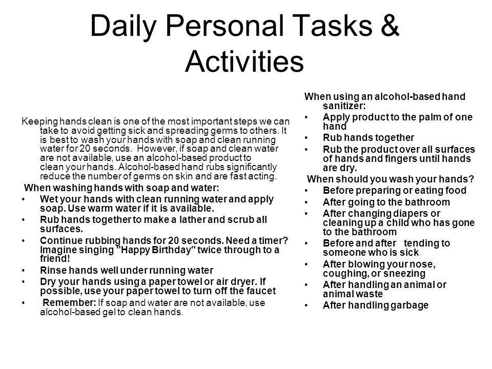 Daily Personal Tasks & Activities