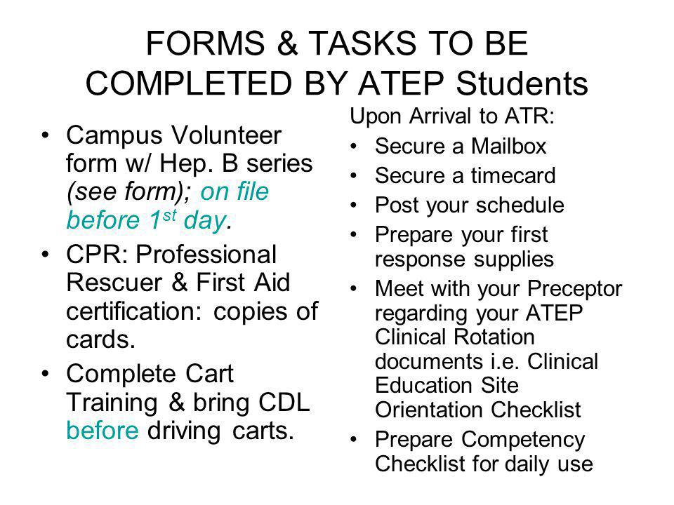 FORMS & TASKS TO BE COMPLETED BY ATEP Students