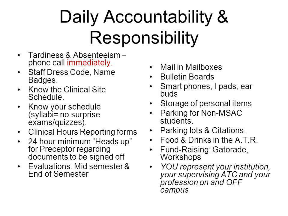 Daily Accountability & Responsibility