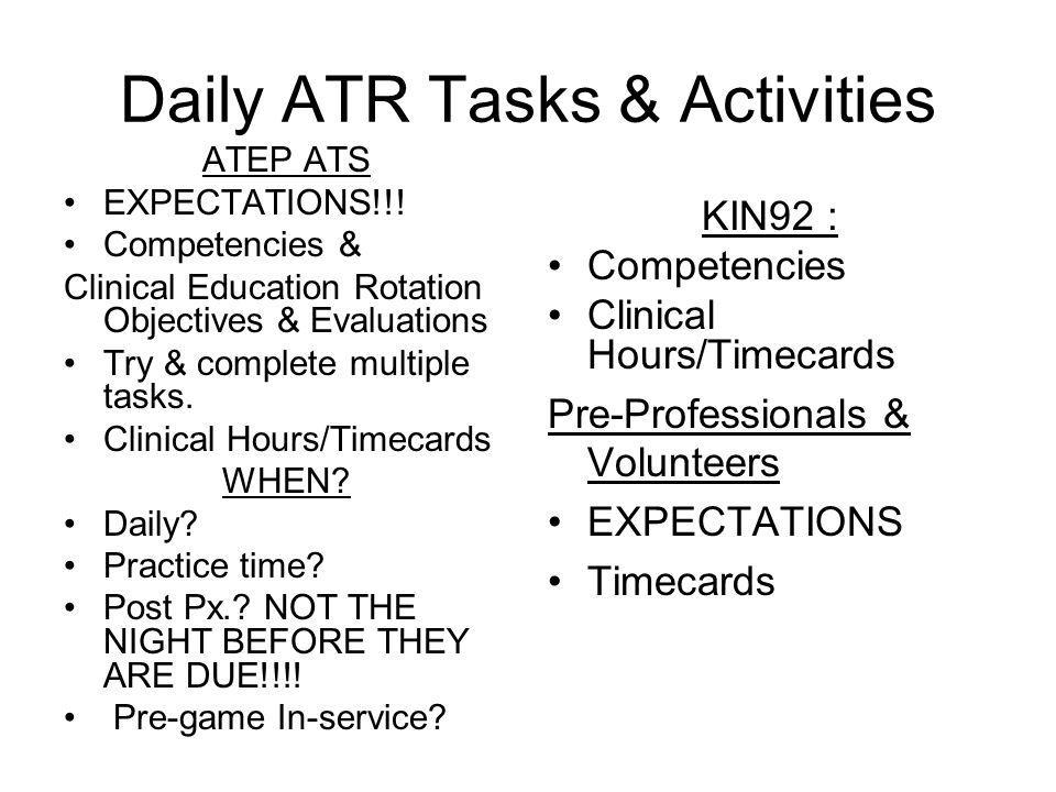 Daily ATR Tasks & Activities