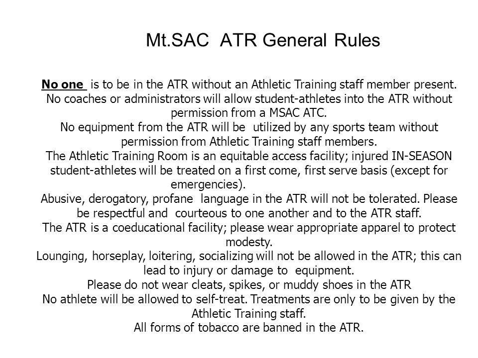 Mt.SAC ATR General Rules