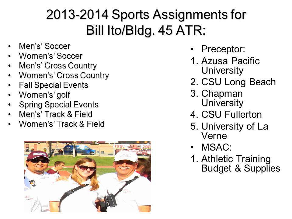 2013-2014 Sports Assignments for Bill Ito/Bldg. 45 ATR: