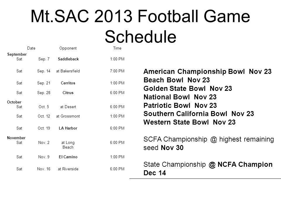 Mt.SAC 2013 Football Game Schedule