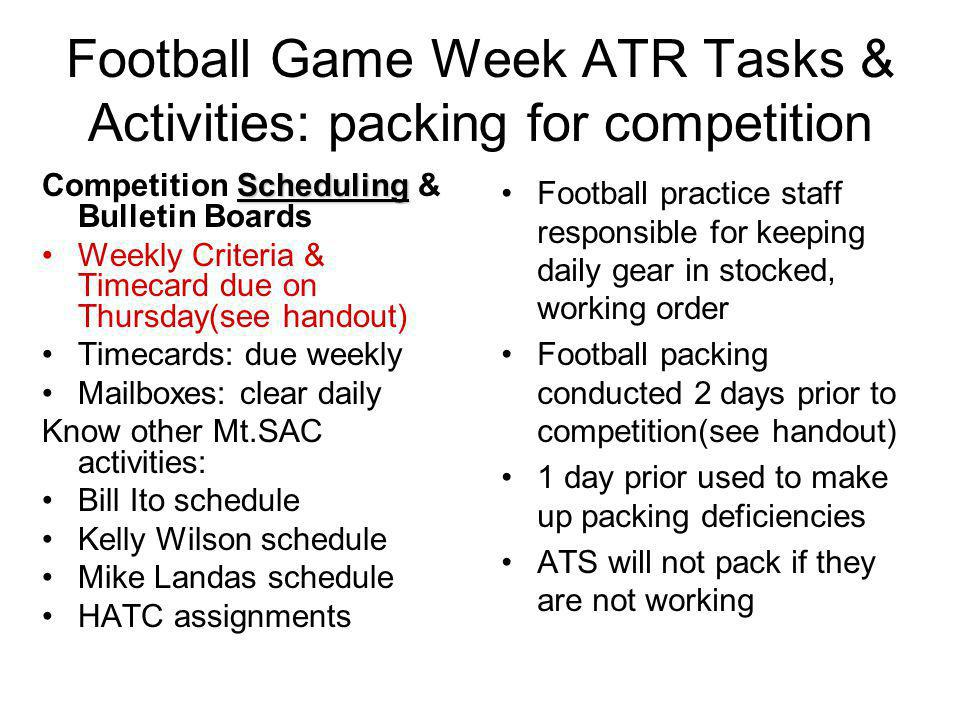 Football Game Week ATR Tasks & Activities: packing for competition
