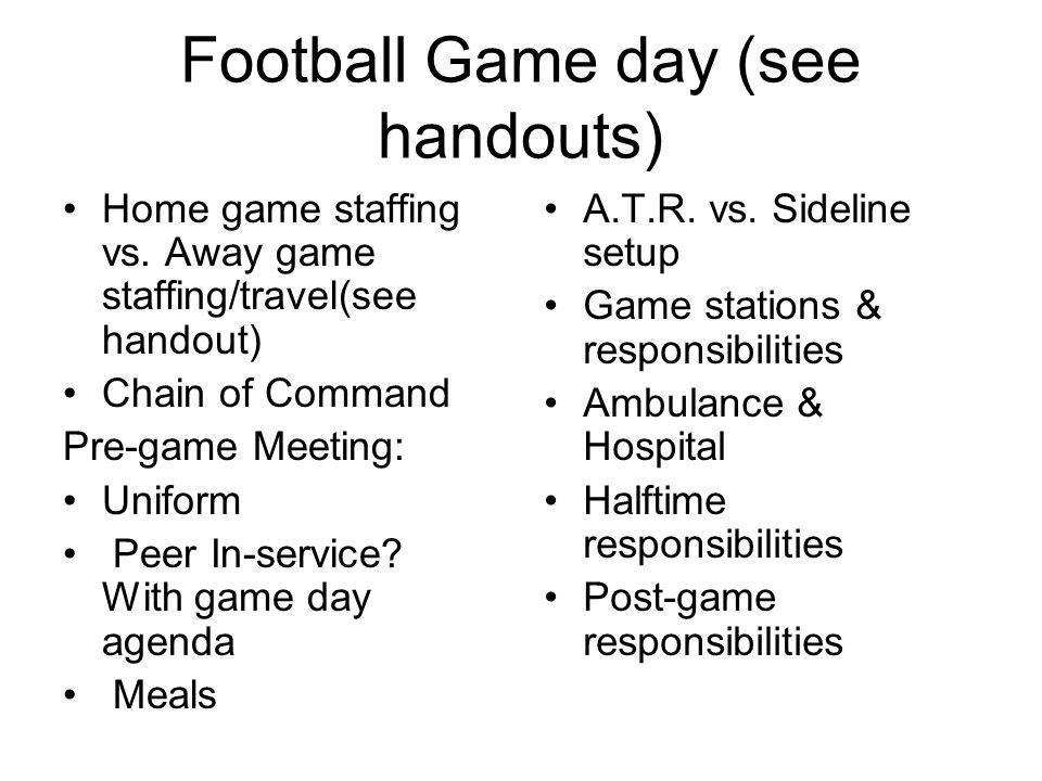 Football Game day (see handouts)