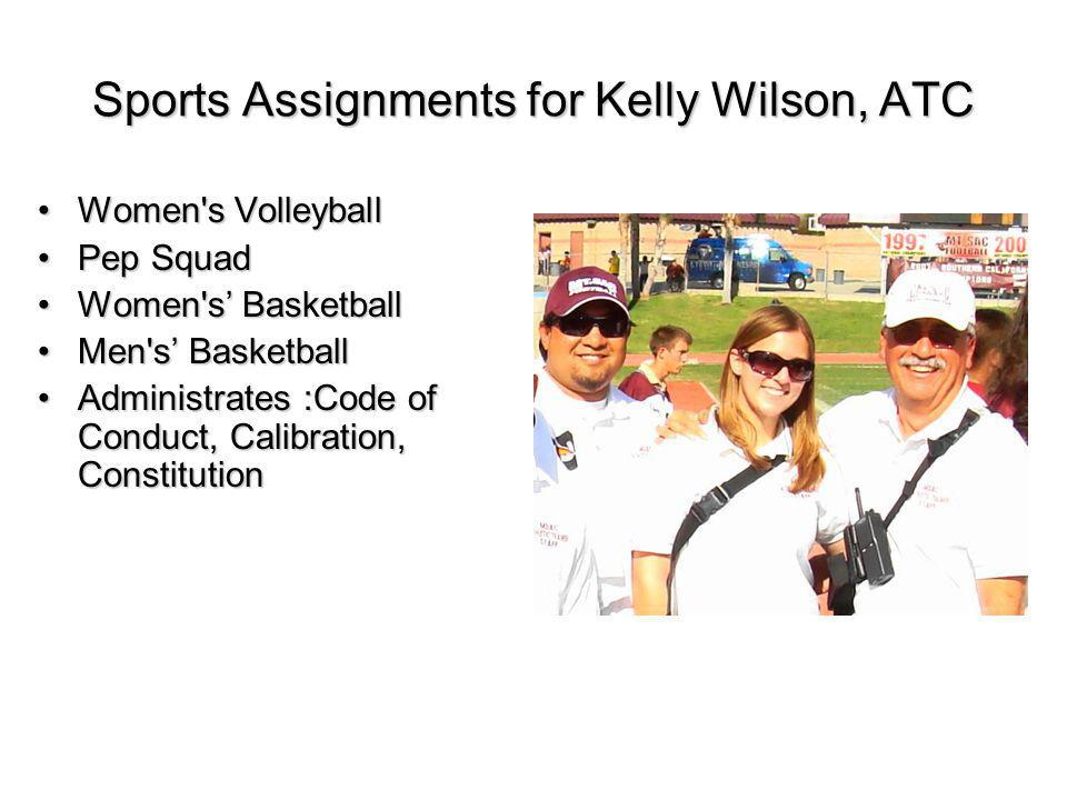 Sports Assignments for Kelly Wilson, ATC