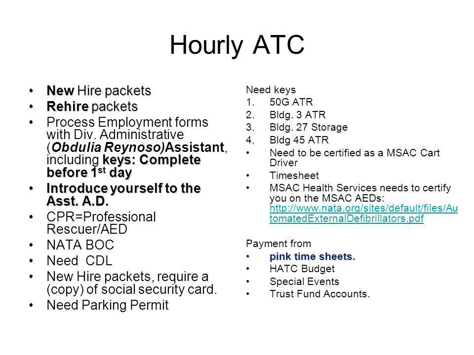 Hourly ATC New Hire packets Rehire packets
