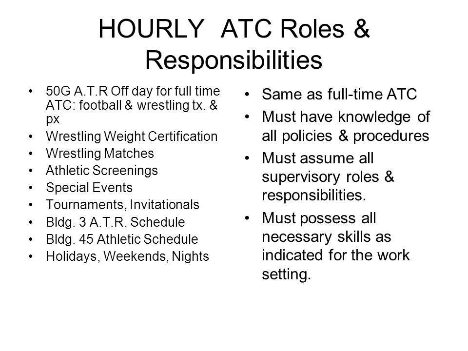 HOURLY ATC Roles & Responsibilities