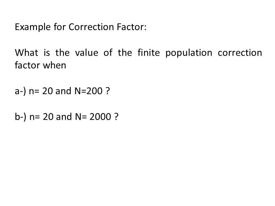Example for Correction Factor:
