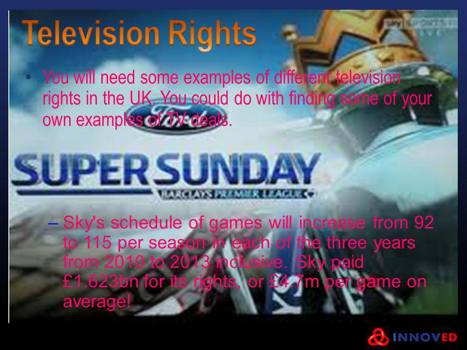 You will need some examples of different television rights in the UK