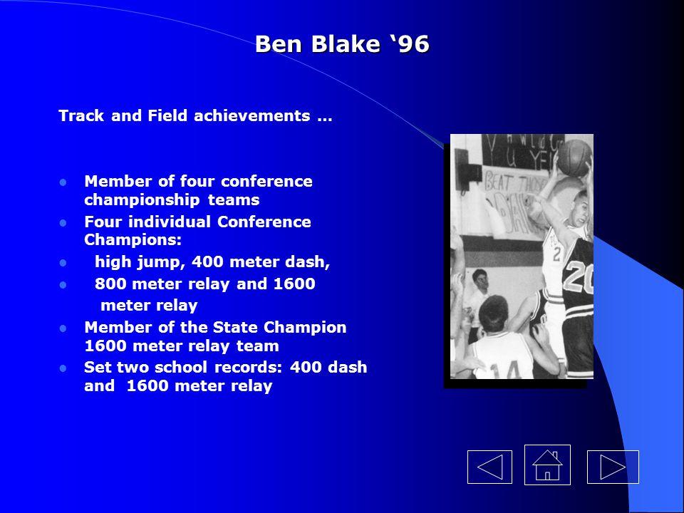 Ben Blake '96 Track and Field achievements …