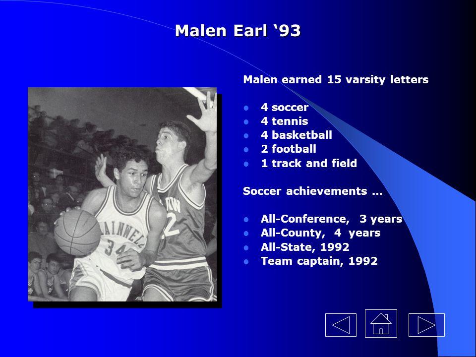 Malen Earl '93 Malen earned 15 varsity letters 4 soccer 4 tennis