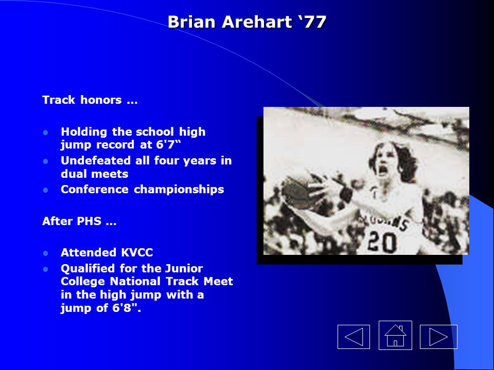 Brian Arehart '77 Track honors …