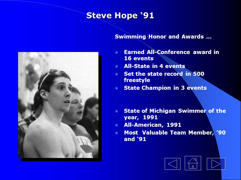 Steve Hope '91 Swimming Honor and Awards …