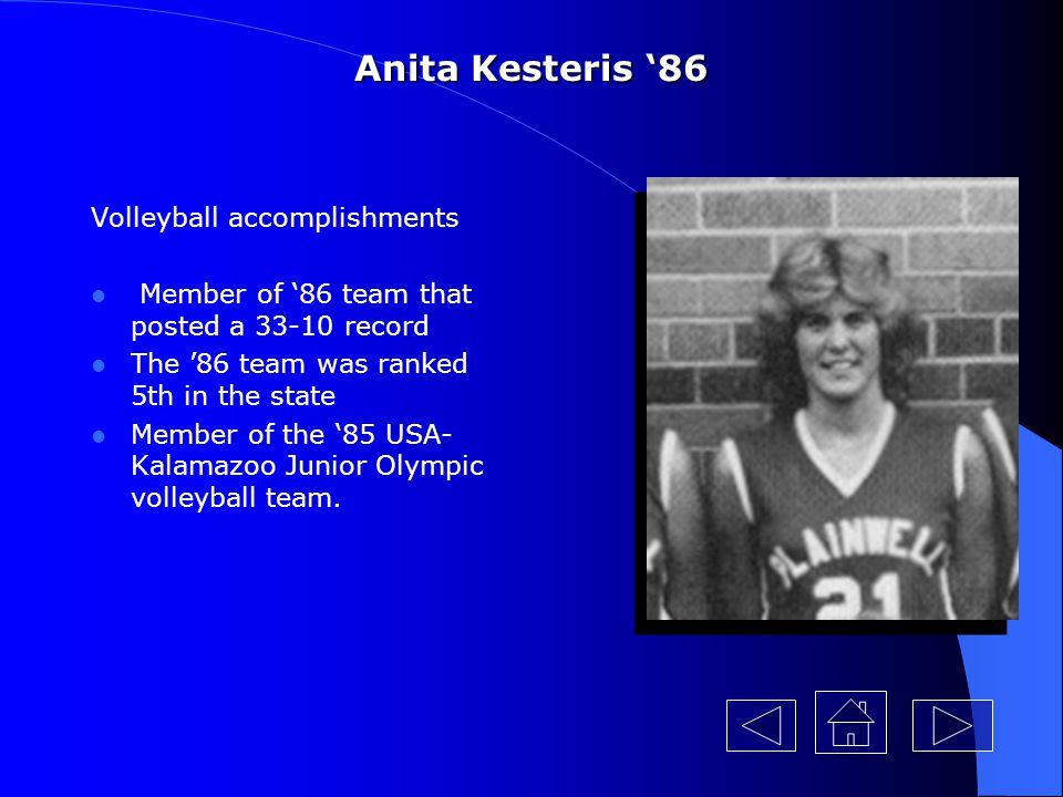 Anita Kesteris '86 Volleyball accomplishments
