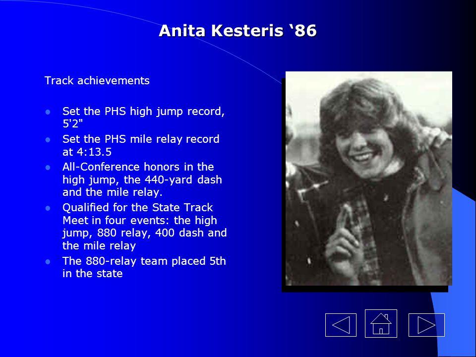 Anita Kesteris '86 Her 1985 track Track achievements