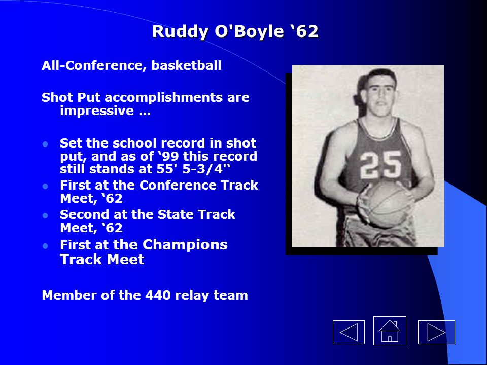 Ruddy O Boyle '62 All-Conference, basketball