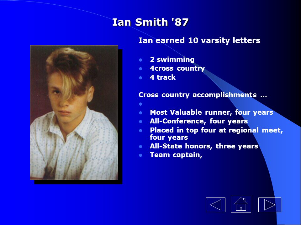 Ian Smith 87 Ian earned 10 varsity letters 2 swimming 4cross country