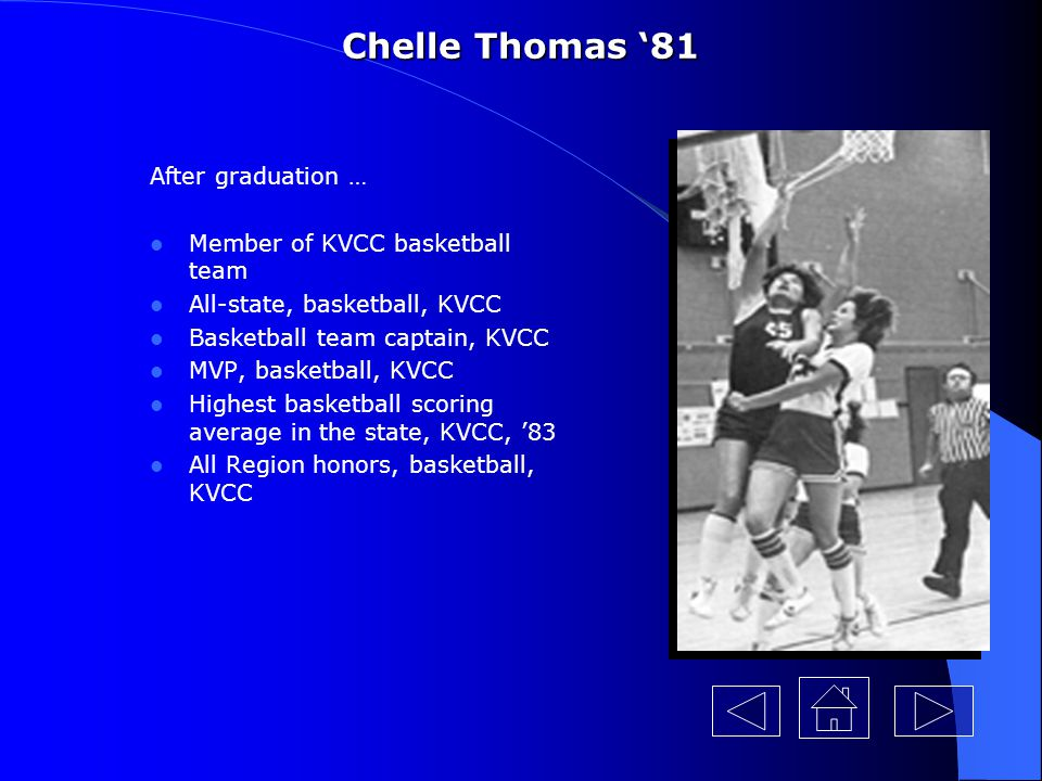 Chelle Thomas '81 After graduation … Member of KVCC basketball team