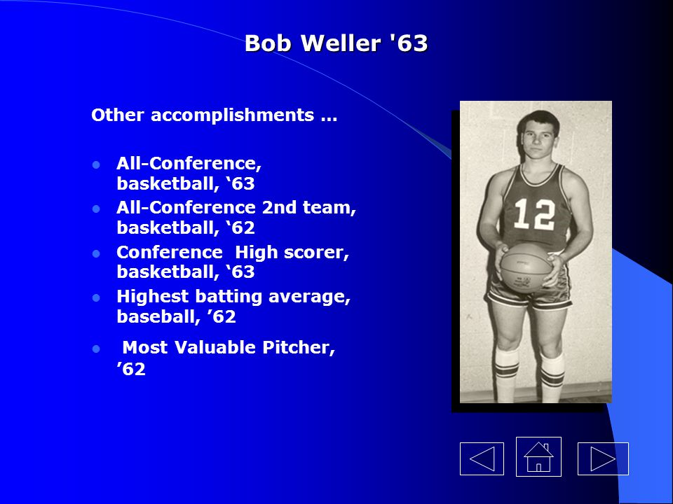 Bob Weller 63 Other accomplishments … All-Conference, basketball, '63