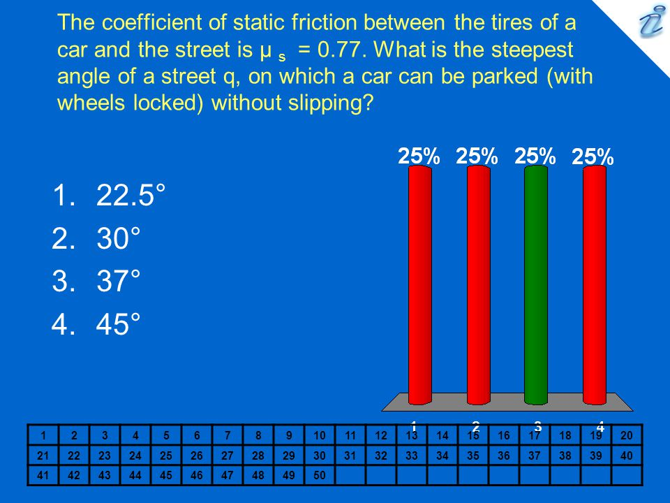 The coefficient of static friction between the tires of a car and the street is µ s = 0.77. What is the steepest angle of a street q, on which a car can be parked (with wheels locked) without slipping
