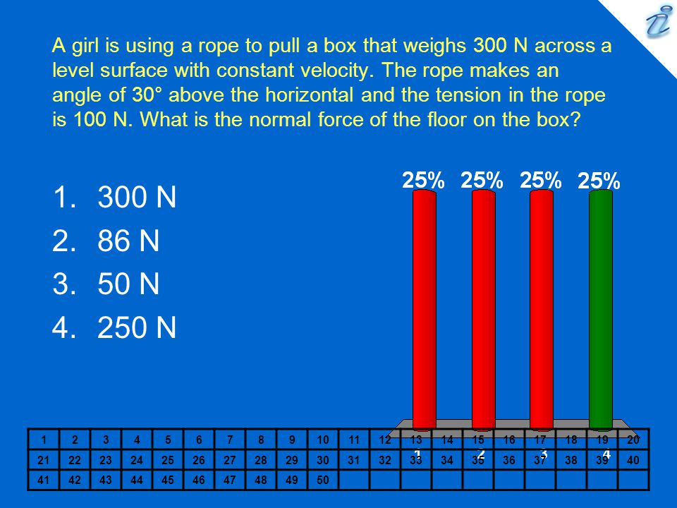 A girl is using a rope to pull a box that weighs 300 N across a level surface with constant velocity. The rope makes an angle of 30° above the horizontal and the tension in the rope is 100 N. What is the normal force of the floor on the box