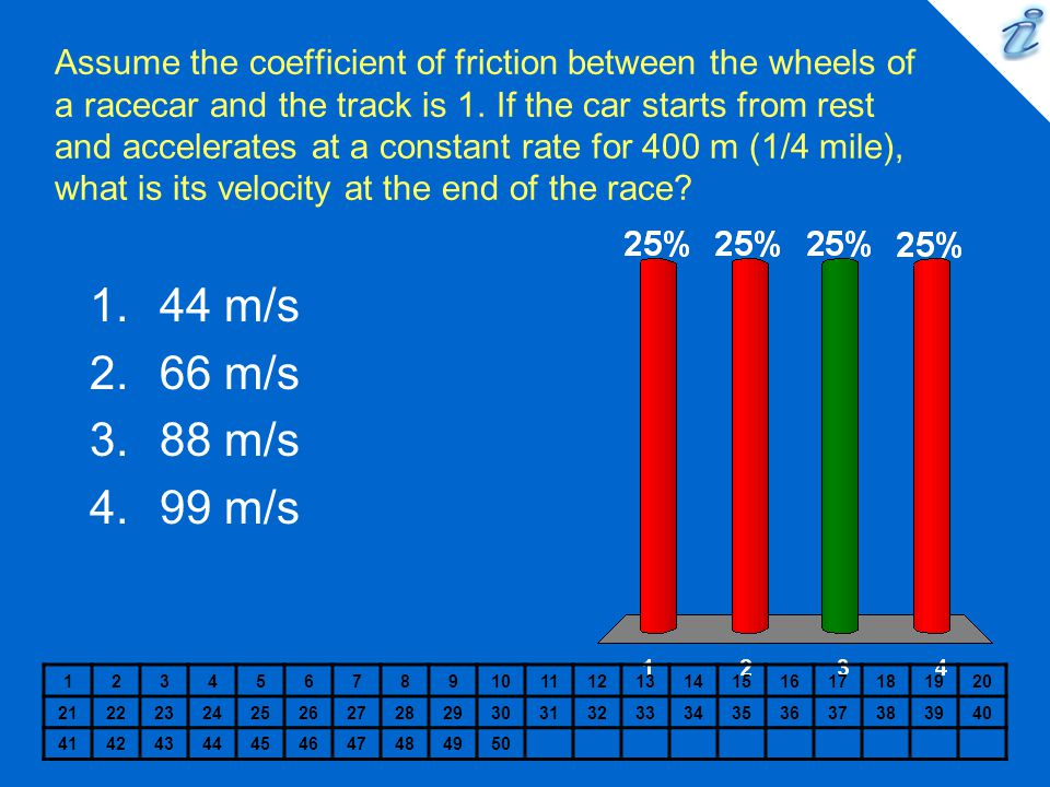 Assume the coefficient of friction between the wheels of a racecar and the track is 1. If the car starts from rest and accelerates at a constant rate for 400 m (1/4 mile), what is its velocity at the end of the race