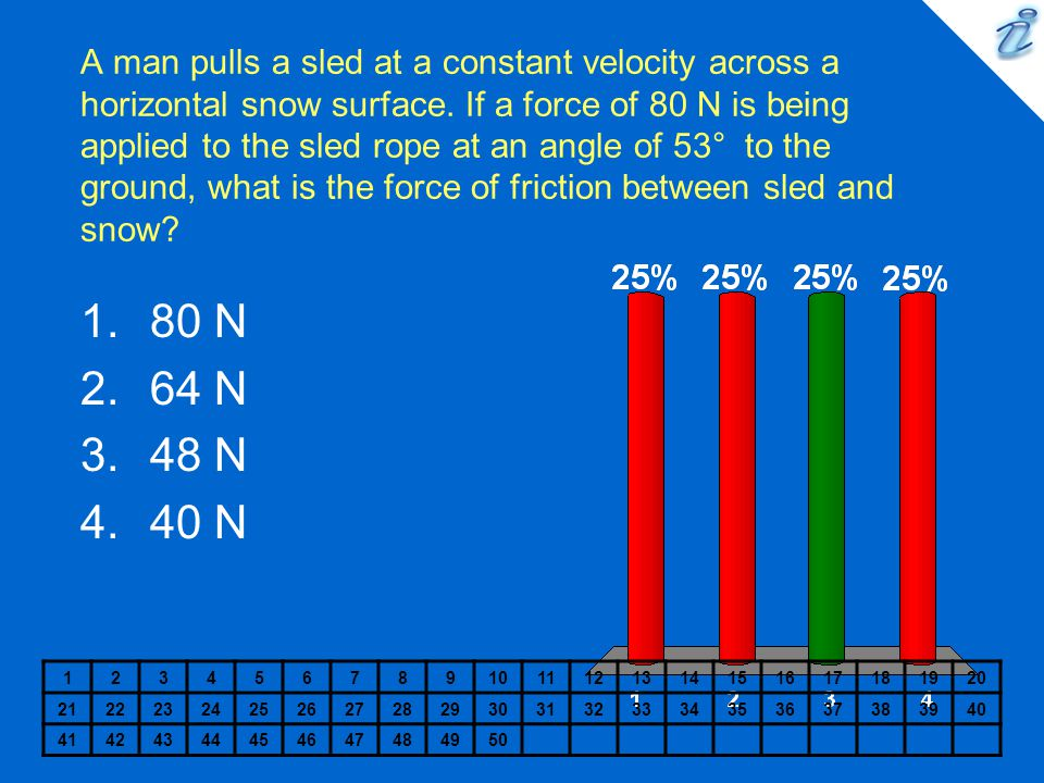 A man pulls a sled at a constant velocity across a horizontal snow surface. If a force of 80 N is being applied to the sled rope at an angle of 53° to the ground, what is the force of friction between sled and snow