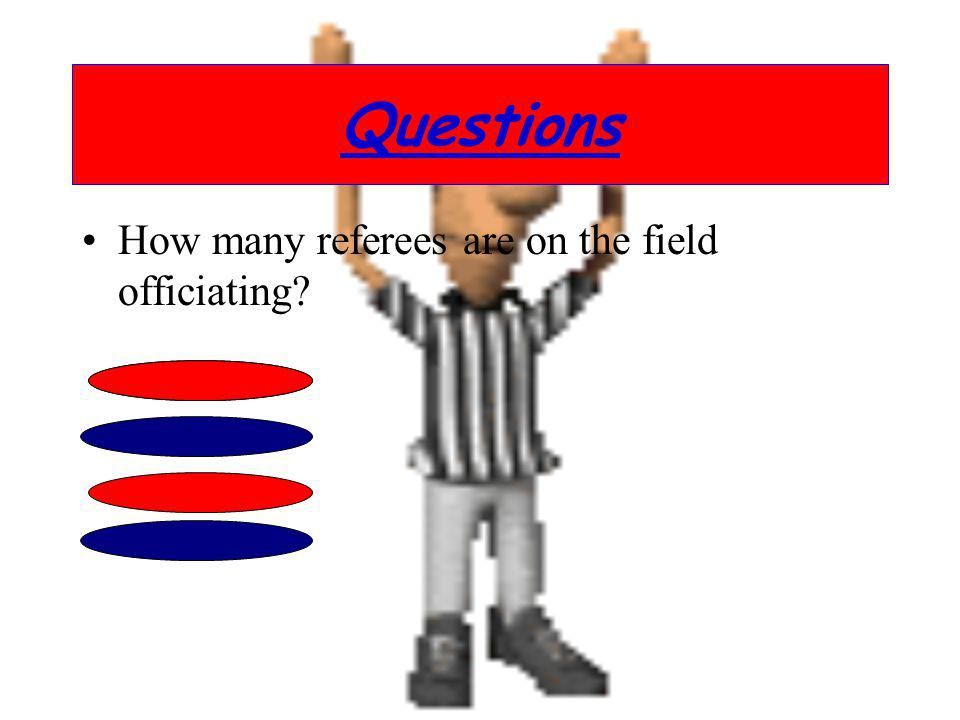 Questions How many referees are on the field officiating