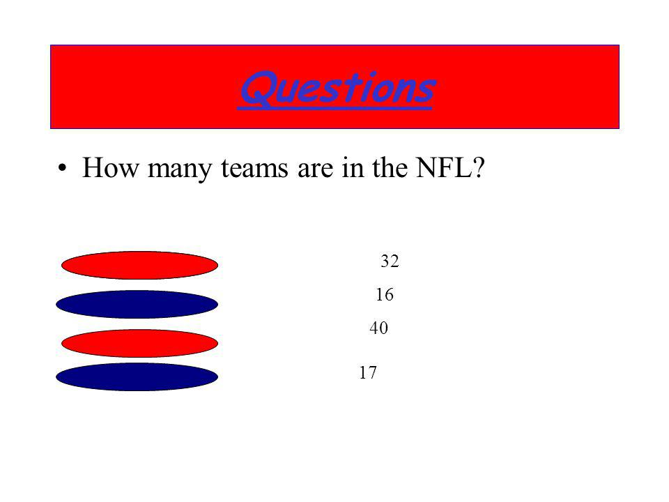 Questions How many teams are in the NFL 32 16 40 17