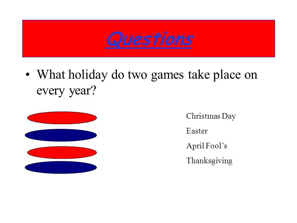 Questions What holiday do two games take place on every year