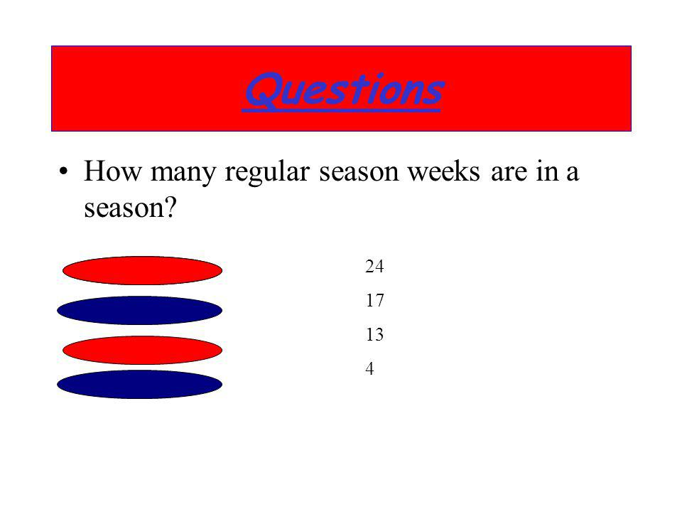 Questions How many regular season weeks are in a season 24 17 13 4