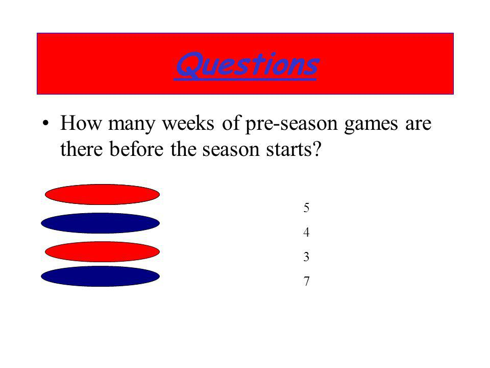 Questions How many weeks of pre-season games are there before the season starts 5 4 3 7