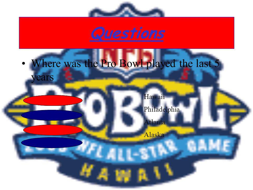 Questions Where was the Pro Bowl played the last 5 years Hawaii