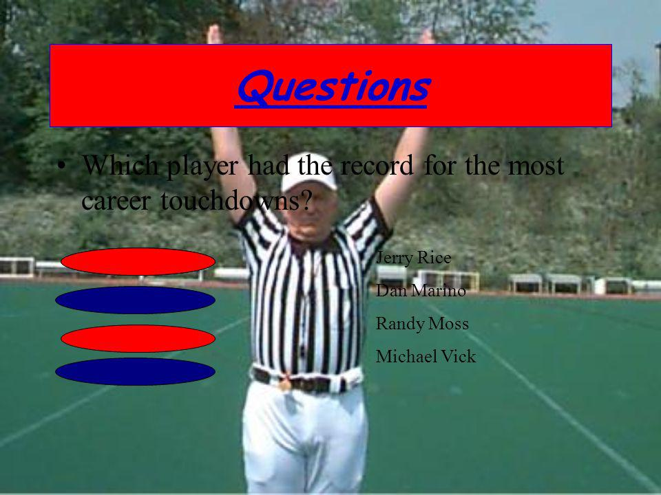 Questions Which player had the record for the most career touchdowns