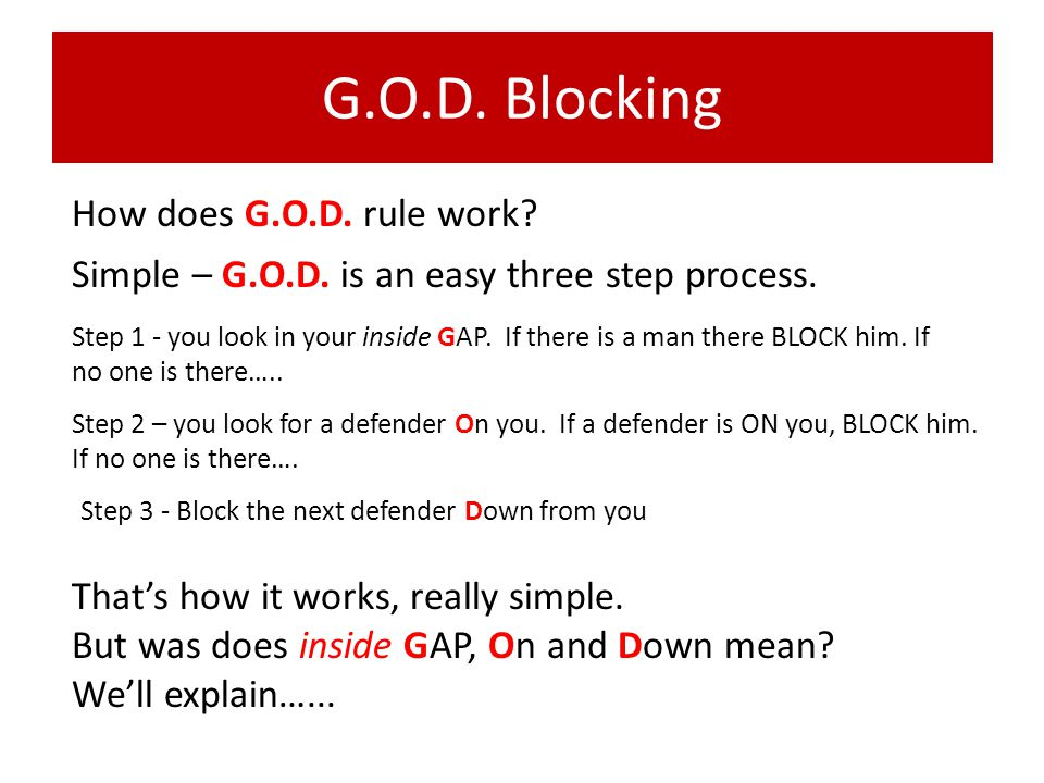 G.O.D. Blocking How does G.O.D. rule work