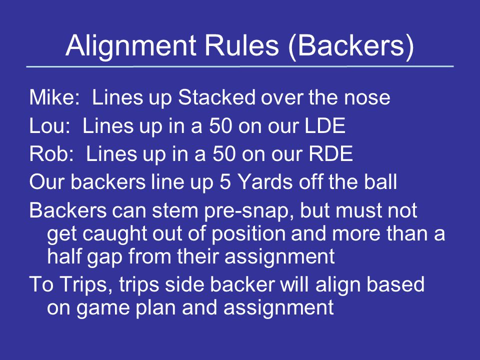 Alignment Rules (Backers)