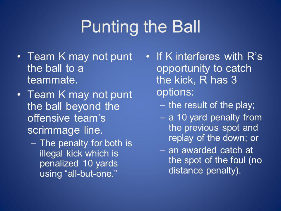 Punting the Ball Team K may not punt the ball to a teammate.