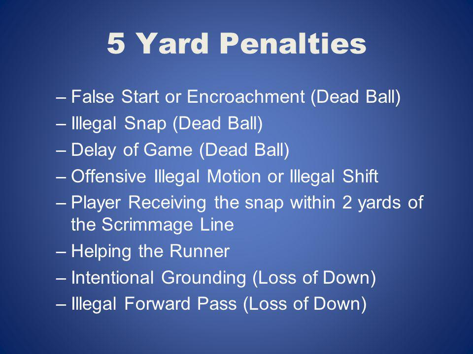 5 Yard Penalties False Start or Encroachment (Dead Ball)