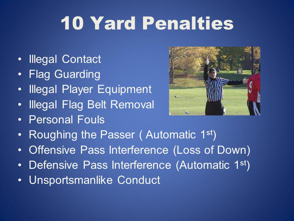 10 Yard Penalties Illegal Contact Flag Guarding